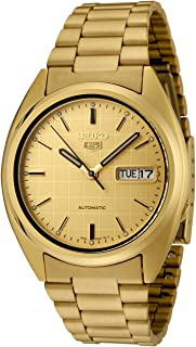 Men's SNXL72 Seiko 5 Automatic Gold Dial Gold-Tone Stainless Steel Watch