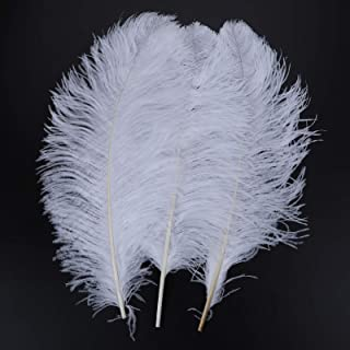 AWAYTR 18-20 inch(45-50cm) Ostrich Feather for Home Wedding Centerpieces Decoration ( White, 10pcs)