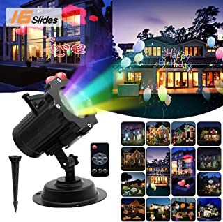 Halloween Christmas LED Projector Lights, Waterproof Outdoor and Indoor Landscape Light with 16 Slides & Remote Control for Party,Birthday Party, Valentines Day and Wedding Decoration