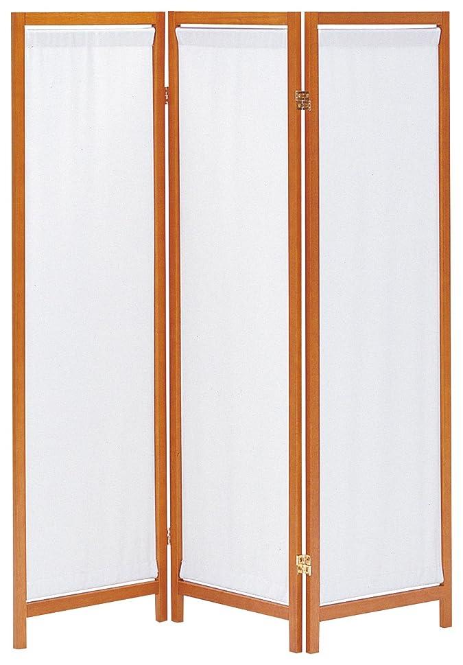 成り立つ共和国梨koeki 木製スクリーン (帆布) 3連 ブラウン HT-3(BR)