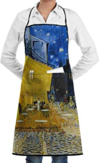 KDJGVM133 Bib Apron for Woman with 2 Pockets Cafe Terrace at Night Printed Kitchen Aprons -Waterpoof, Unisex, Chef, Kitchen, Cafe, Baking, Gardening, Restaurant