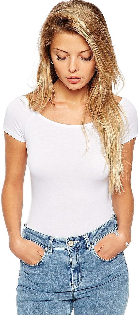 Vivian's Fashions Top - Bodysuit, Cotton, Short Sleeve (Junior Sizes)