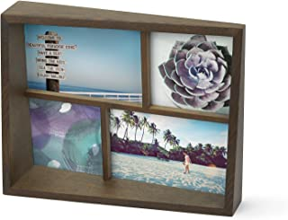 Umbra Edge, Wooden 4x6 and 4x4 Picture Frame and Photo Display for Desktop or Wall, Aged Walnut, Collage