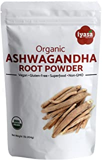 Organic Ashwagandha Powder, Withania Somnifera, 16 oz/1 lb, Raw Superfood, Boosts Sleep and Energy, Resealable Pouch, Value pack of 16 oz