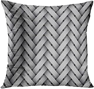 Throw Pillow Cover Silver Carbon Woven Fiber Weave Kevlar Decorative Pillow Case Home Decor Square 18x18 Inches Pillowcase