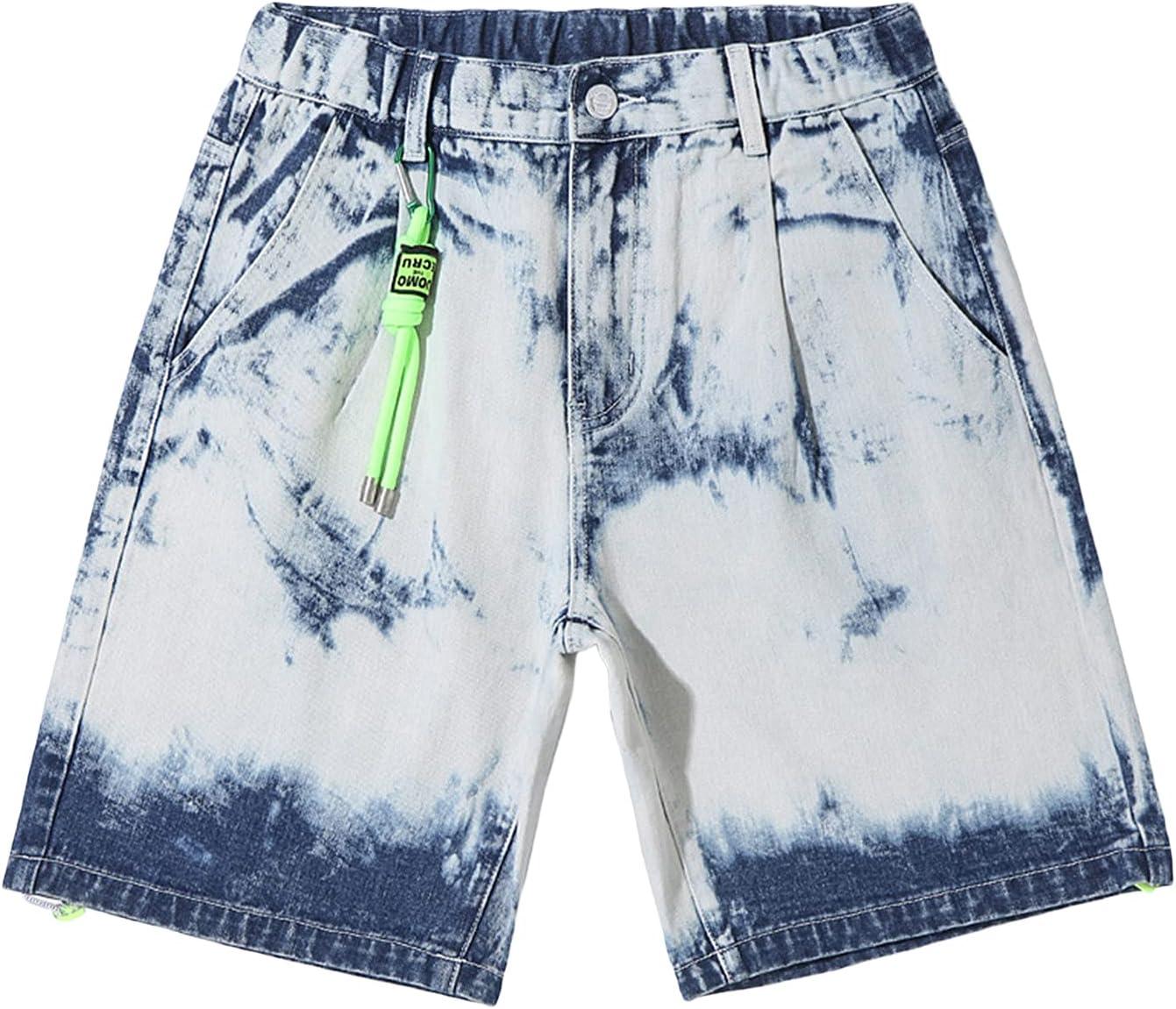 Men's Casual Fashion Tie-dye Denim Shorts Loose Large Size Comfortable Jean Short Retro Printed Summer Street Trend Shorts (White,XX-Large)