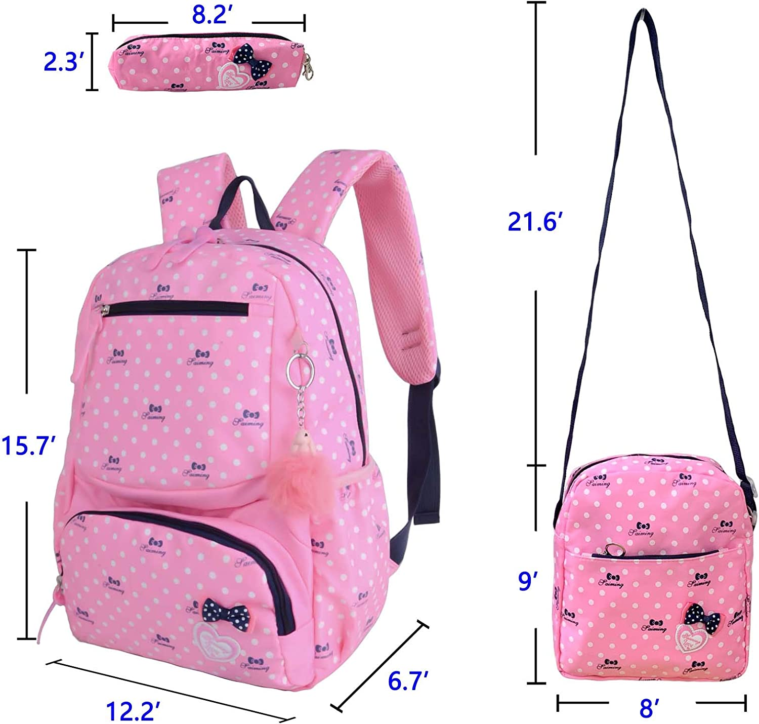 Pink Qiuhome School Backpack for Girls with Shoulder Bag Pencil Case 3 in 1 Set Primary Schoolbag
