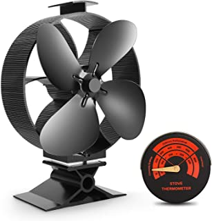 Sumapner Wood Stove Fan -4 Blade Eco Friendly Silent Heat Powered Stove Fan for Wood Log Burners-Big Air Volume