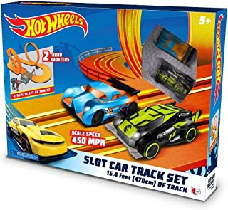 Hot Wheels Slot Car Track Set - 2 Turbo Boosters 15.4 Ft of Track 59 Total Pieces Scale Speed 450 MPH
