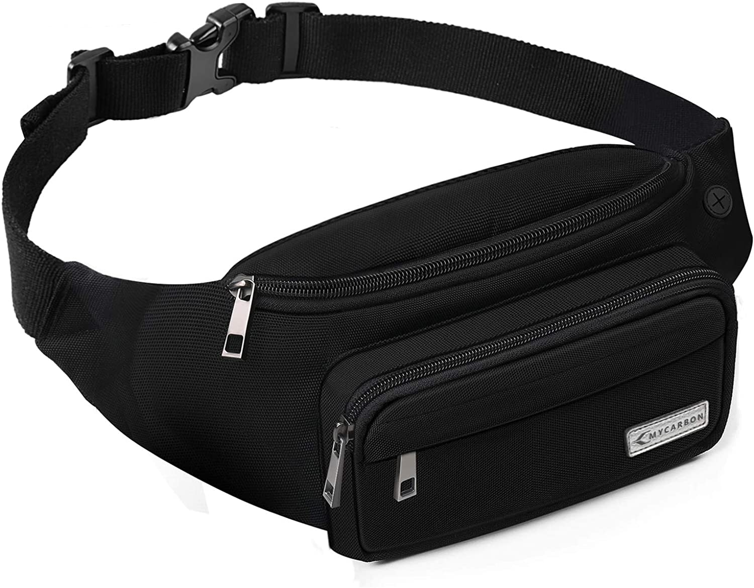 MYCARBON Fanny Pack for Men and Women, Large Fanny Pack Waist Pack Bag Cute Hip Bum NonBounce Belt NonSlip Cotton Durable Pouch with Adjustable Strap for Outdoors Casual Travel Hiking Black