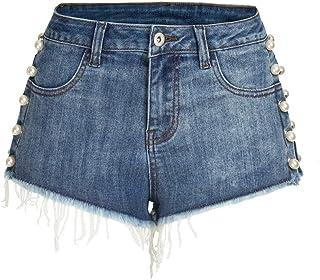 Jieming 女性のセクシーなヒップジーンズ女性の真珠を散りばめ洗ったデニムホットパンツジーンズ (Color : Blue, Size : XXXL)