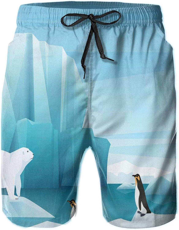 Cartoon Icons of Penguin Polar Bear Drawstring Waist Beach Shorts for Men Swim Trucks Board Shorts with Mesh Lining,M