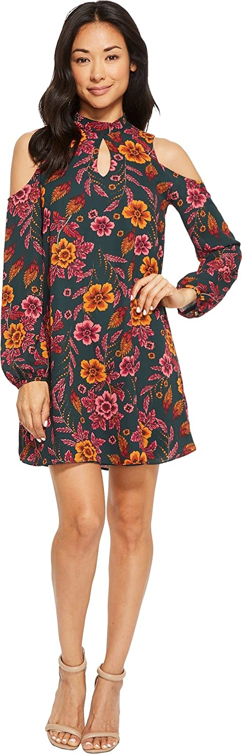 American pink Womens Layla Long Sleeve Floral Cold Shoulder Dress