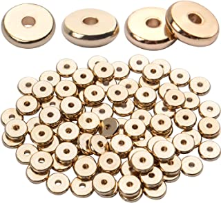 100pcs 8mm Flat Round Rondelle Spacer Beads Disc Spacers Loose Beads Jewelry Metal Spacers for DIY Bracelet Necklace Craft...
