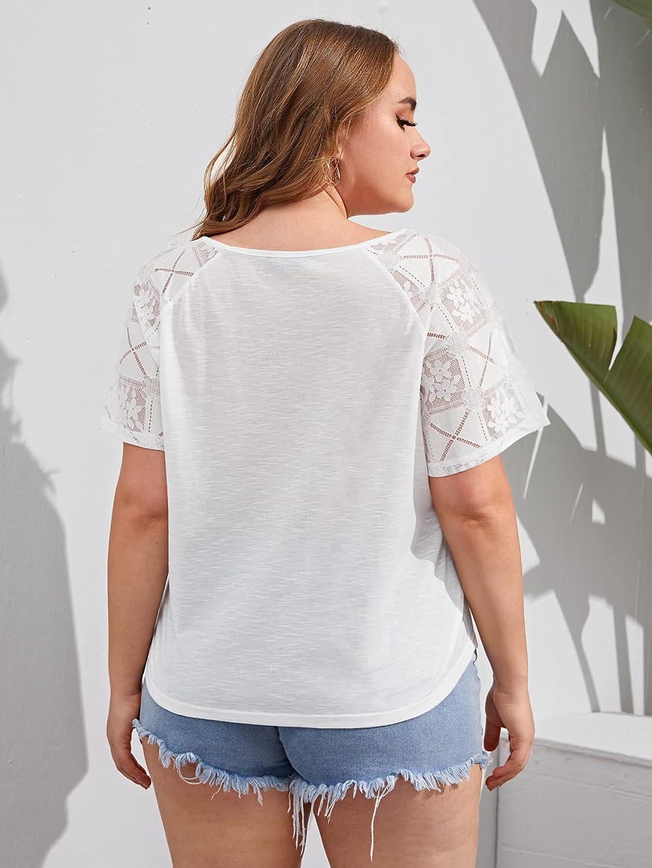 Romwe Women's Plus Size Mesh Short Sleeve Cut Out Crewneck Cotton Blouse