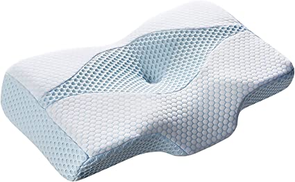 Amazon|MyeFoam 枕 安眠 肩がラク 低反発 まくら 中空設計 頭・肩をやさしく支える 低反発枕 仰向き 横向き プレゼント 洗える ブルー|枕 オンライン通販