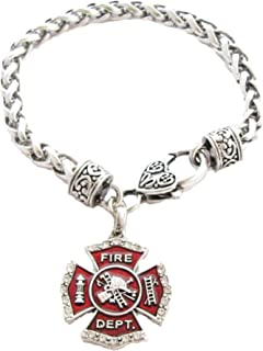 Sports Accessory Store Firefighter Fireman Shield Clear Crystal Red Lobster Claw Bracelet Jewelry