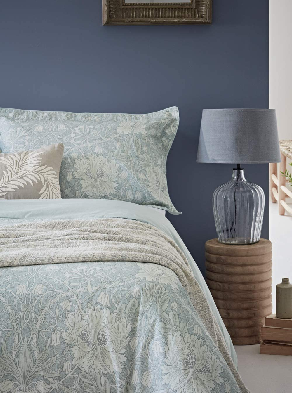 Kingsize Morris /& Co Pure Honeysuckle /& Tulip Duvet Cover Light Grey Blue Cotton