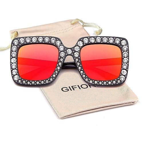 49969f1e504b Oversized Sunglasses For Women Square Sunglasses With Bling Rhinestone