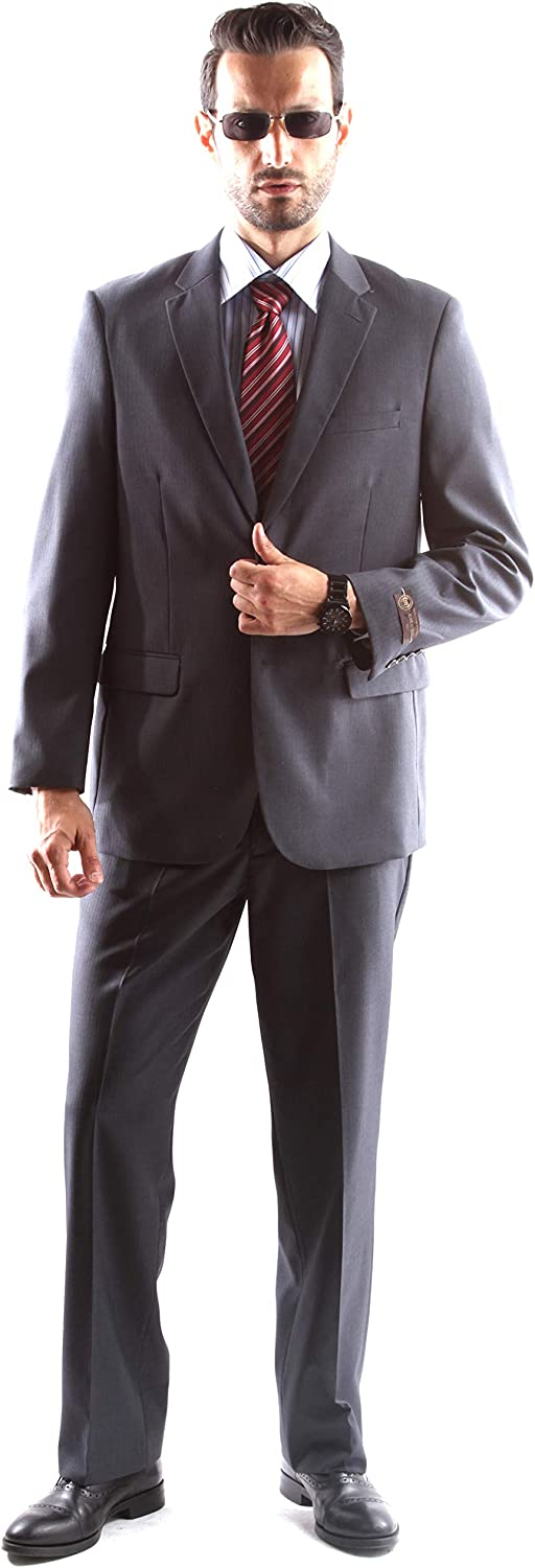 Men's Superior 150s Single Breasted Two Button Tonal Stripe Dress Suit
