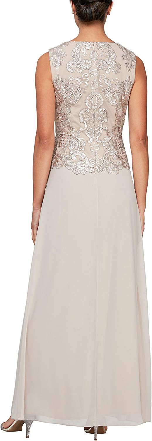 Alex Evenings Women's Long Embroidered Sleeveless Mock Dress with Shawl
