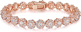 Women Tennis Bracelet S925 Rose Gold Plated Fashion Jewelry