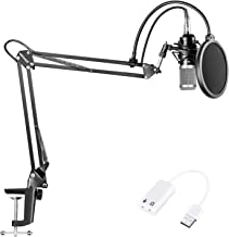 Neewer NW-800 Condenser Microphone (Black/Silver) Kit with USB Sound Card..