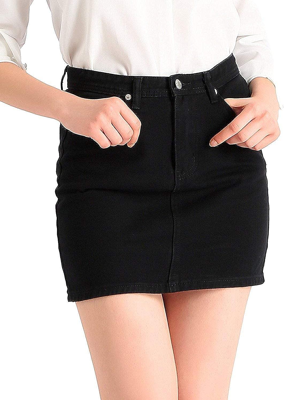 Beluring Women's Ladies Classic Summer Denim Jeans Mini Skirt Black Size 8