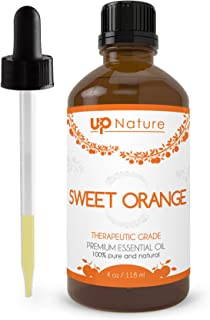 Sweet, Wild Orange Essential Oil - 100% Pure, Unrefined, Non-GMO - Soothing & Relaxing Citrus Scent - Perfect for Aromatherapy with Diffuser - Prevent & Fight Acne - with Dropper by UpNature (4 oz.)