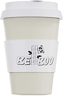 Reusable Coffee Cup Travel Mug Made With Organic Bamboo Fiber - Takeaway With Spill Stopper Leak Proof Lid - Eco Friendly And Dishwasher Safe 16oz (White)