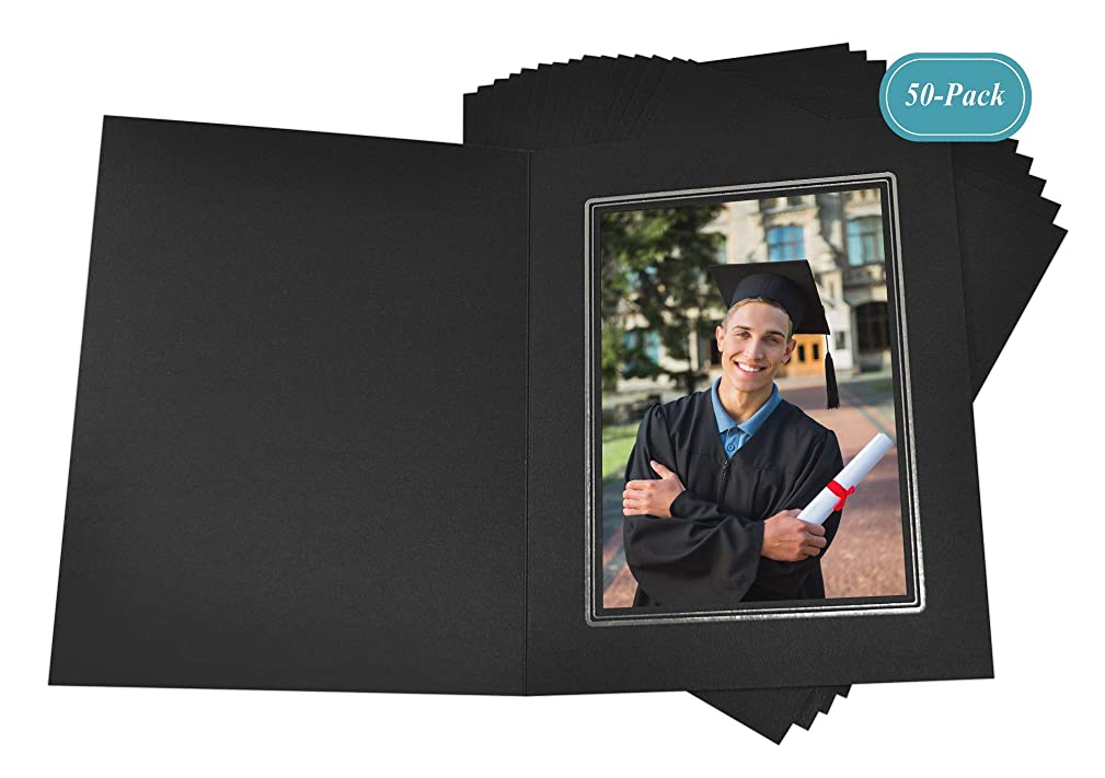 Golden State Art, Cardboard Photo Folder for a 4x6 Photo (Pack of 50) Black Color with Silver Lining