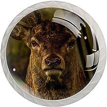 FURINKAZAN Kabinet Knop Trek Handvat Bruin Mannelijke Herten Wild Dier 4-Pack Keuken Kastdeur