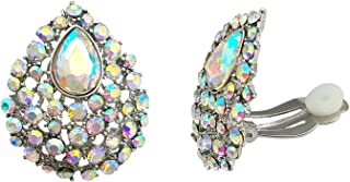 SELOVO Clear AB Austrian Crystal Teardrop Clip on Stud Earrings Iridescent Color Stone Silver Tone