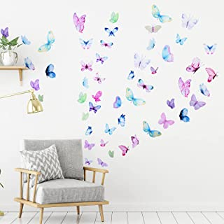 62 Pieces 3D Watercolor Butterfly Wall Decals Peel and Stick Vinyl Removable Wall Stickers for Kids Room Nursery Classroom...