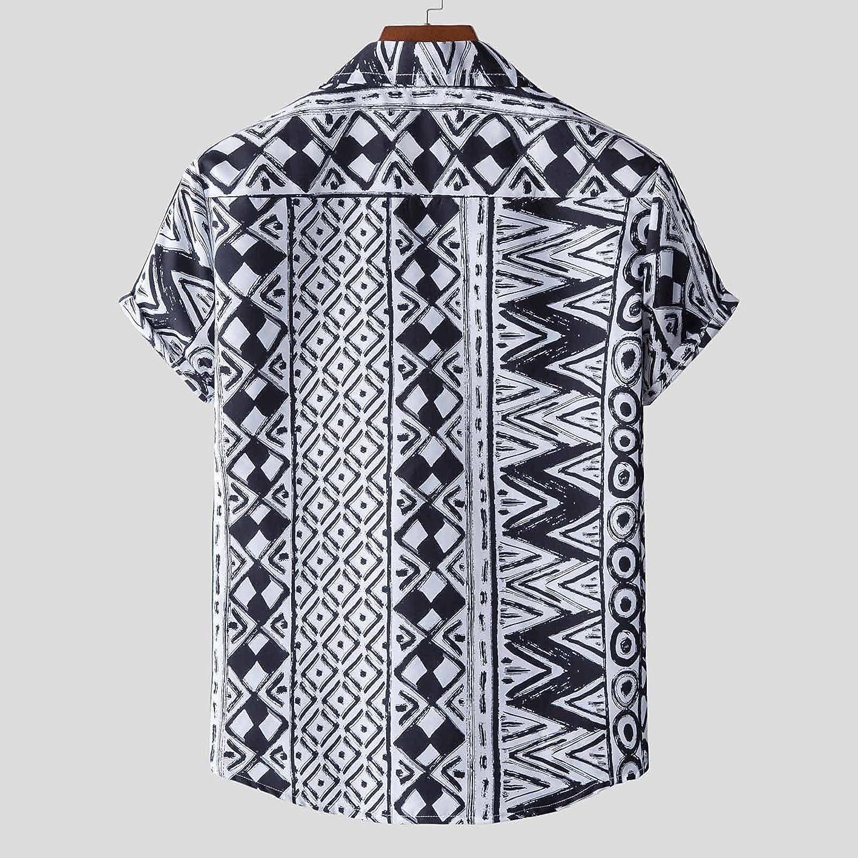 Hawaiian Shirt for Men Short Sleeve Beach Printed Summer Button Down Aloha Shirt Floral Summer Casual Shirts