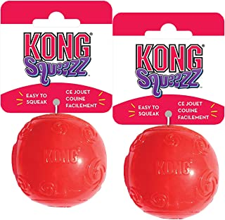 KONG Squeezz Ball Dog Toy, Medium, 2 Pack, Colors Vary
