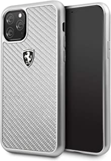 CG Mobile Ferrari Real Carbon Fiber Case for iPhone 11 Pro Cell Phone Cover Off Track Silver Carbon Hard Case Silver Drop ...