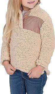 Blibea Girls Fashion Zipper Neck Fluffy Fleece Sweatshirt Pullover Outwear