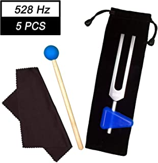 TENFLY 528 Hz Tuning Fork, with Silicone Hammer (blue) 、Triangular Silica Gel and Cleaning Cloth Perfect Healing Musical Instrument.