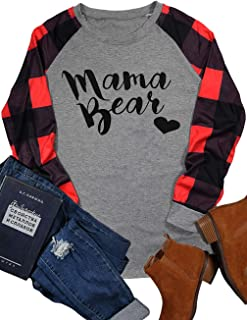 Women's Mama Bear Plaid Love Baseball Letter Print Funny T-Shirts O-Neck Long Sleeve Patchwork Tee Tops