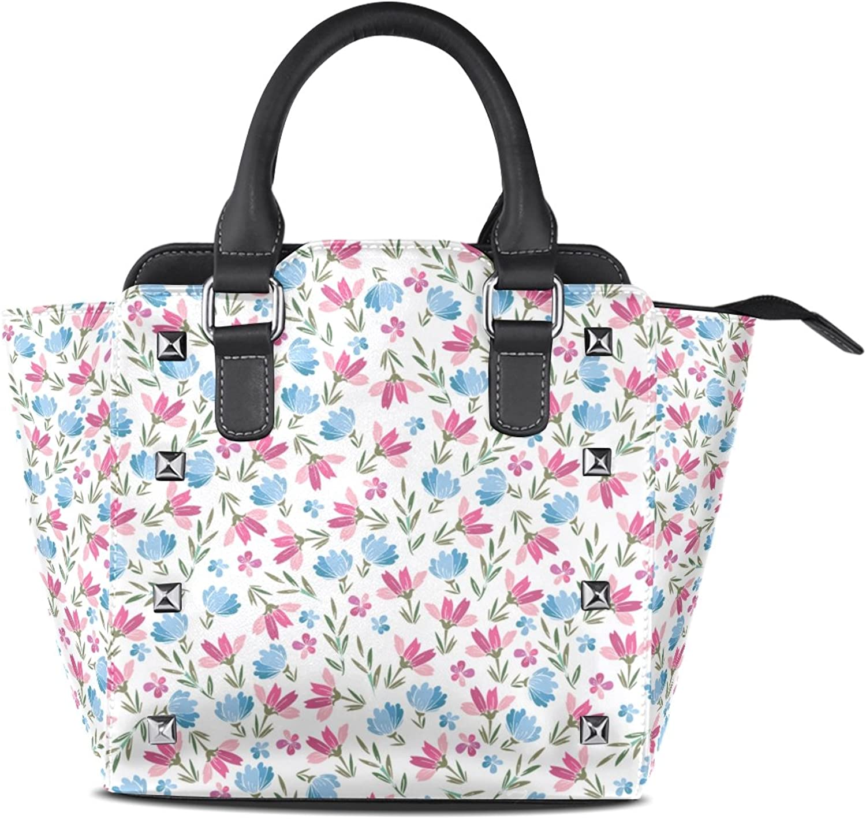 My Little Nest Women's Top Handle Satchel Handbag Pink and bluee Small Flowers Ladies PU Leather Shoulder Bag Crossbody Bag