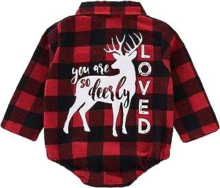 Ailainniyishi Baby Girl Boy Plaid Shirt Long Sleeve Deer Letter Print Romper Bodysuit Christmas Jumpsuit