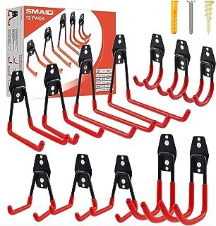 Garage Hooks, 12-Pack Steel Garage Storage Hooks & Hangers, Heavy Duty Double Utility Garage Organizer, Garden Organizing ...