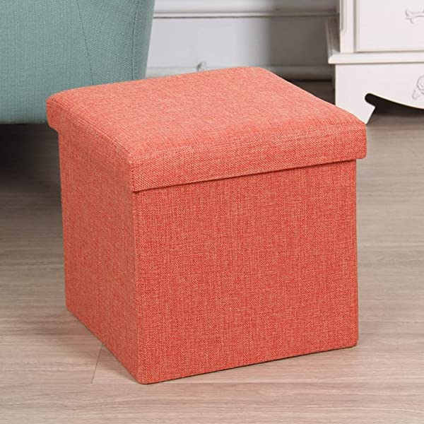 Collapsible Storage Organizer Fabric Kids Ottoman Folding Storage Cube Ottoman For Kids Bedroom Living Room Nursery Playroom Orange 12 X 12 X 12 Inches