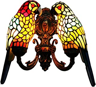 Makenier Vintage Tiffany Style Stained Glass Wall Sconce/Wall Light, Parrot Design, Antique Bronze Finish (Red Parrot + Blue Parrot)
