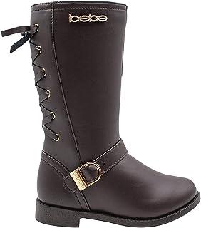 أحذية الشتاء بيبي للفتيات الكبار سهلة الارتداء طويلة من الميكروسويد مع شعار حجر الراين وزخرفة من الفراء الصناعي