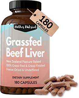 Beef Liver Capsules, 100% Grassfed New Zealand Dessicated Liver. Freeze-Dried and Undefatted. 180 Count, 45-Day Supply, Ma...