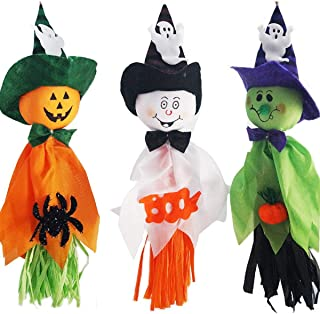 Halloween Hanging Ghost Decorations,Pumpkin Ghost Straw Windsock Pendant Scary Halloween Ghost Bar Garden Party Indoor Outdoor Background Decoration