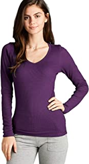 Instar Mode Women's Plain Basic Round Crew Neck Thermal Long Sleeves T Shirt Top