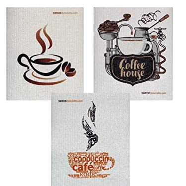 Mixed Coffee Set of 3 cloths (one of each design) Swedish Dishcloths | ECO Friendly Absorbent Cleaning Cloth | Reusable Cleaning Wipes